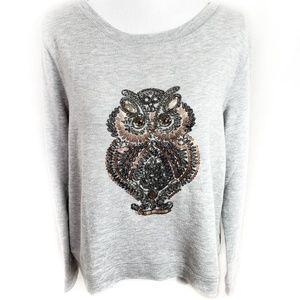 H&M Owl Rhinestone & Sequin Sweatshirt